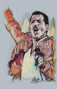 Queen Pastels Framed Prints - Freddie Mercury Framed Print by Melanie D