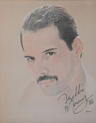 Signed Drawings Posters - Freddie Mercury Signed  Poster by John Sterling