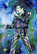 Singer Paintings - Freddie Mercury Singing Portrait.2 by Fabrizio Cassetta