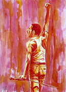 Picture Paintings - Freddie Mercury Singing Portrait.3 by Fabrizio Cassetta