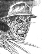 Horror Movies Drawings - Freddy by Christopher Torres