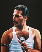 Singer Painting Framed Prints - Freddy Mercury Framed Print by Paul  Meijering