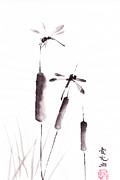 Inkwash Framed Prints - Free As The Dragonflies Framed Print by Oiyee  At Oystudio