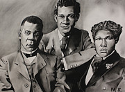 Booker T. Framed Prints - Free at last... Booker T. Washington and sons Framed Print by Marvin Ryan