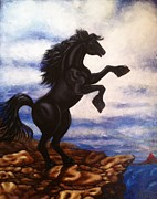 Black Stallion Paintings - Free Black Beauty  by Annette Jimerson