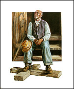 Black Man Painting Posters - Free by Faith Poster by John Lautermilch