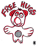 Jera Sky Framed Prints - Free Hugs Bear Framed Print by Jera Sky