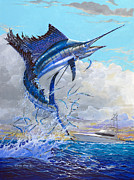 Black Marlin Framed Prints - Free Jumper Off00141 Framed Print by Carey Chen