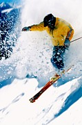 Skiing Action Painting Framed Prints - Free-ride Skier Framed Print by Lanjee Chee