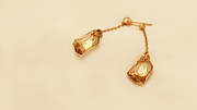 Woman Gift Jewelry - FREE SHIPPING Champagne Crystal Asymmetric Earrings by Batya Salomon