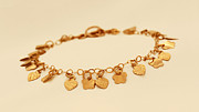 Nature Inspired Jewelry - FREE SHIPPING Gold filled Bracelet with Hearts and Flowers Charms by Batya Salomon