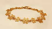 Nature Inspired Jewelry - FREE SHIPPING Gold filled bracelet with naive elements by Batya Salomon