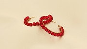Large Earrings Jewelry - FREE SHIPPING Large Red Crystlas Hoops Earrings by Batya Salomon