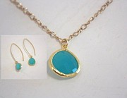 Long Necklace Jewelry - Free Shipping SET Idit Stern Turquoise Crystal Necklace and Earrings by Idit Stern