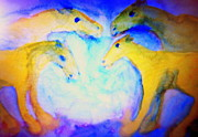 Biological Painting Metal Prints - Free souls Metal Print by Hilde Widerberg