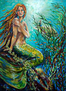 Mermaids Paintings - Free Spirit by Linda Olsen