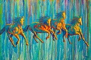 Colorful Horse Paintings - Free Spirits by Theresa Paden