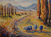 Thomas Bertram Poole Prints - Free State Landscape with Guinea Fowl Print by Thomas Bertram POOLE