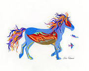 Wild Horse Drawings - Free to Fly by Lula Adams