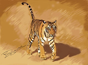 Tiger Paintings - Free to roam by Barbara Czepulkowski