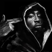 African American Male Paintings - Free Will - 2 PAC by Reggie Duffie