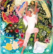 Hawai Painting Posters - Freedom and Bounty Angel Poster by Nancy Poes