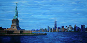 New York City Skyline Painting Originals - Freedom by Andrew Wells