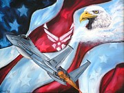 4th July Painting Metal Prints - Freedom Eagles Metal Print by Dan Harshman