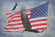 Waving Flag Posters - Freedom Flight Poster by Angie Vogel