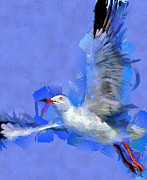 Flying Seagull Painting Framed Prints - Freedom Framed Print by Georgi Dimitrov