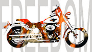 Freedom Mixed Media Metal Prints - Freedom - Motorcycle Art - Fatboy  Metal Print by Sharon Cummings
