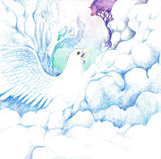 Eagle In Clouds Prints - Freedom oneness art Print by Lydia Erickson