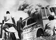 Racists Prints - Freedom Riders Bus Burned Print by Underwood Archives