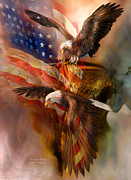 American Flag Mixed Media - Freedom Ridge by Carol Cavalaris