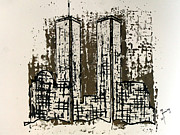 11 Wtc Painting Metal Prints - Freedom Towers Metal Print by Richard Sean Manning