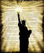 Lady Liberty Mixed Media Prints - Freedoms Light Print by Daniel Hagerman