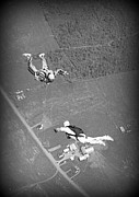 Halifax Photography Halifax Nova Scotia Posters - Freefalling Nova Scotia Skydivers in Stewiacke Poster by John Malone
