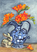 Pitcher Drawings Metal Prints - Freesias in a Vase Metal Print by Carol Wisniewski