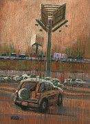 Car Pastels Prints - Freeway Advertising Print by Donald Maier