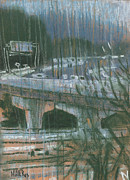 Traffic Pastels Prints - Freeway Overpass Print by Donald Maier
