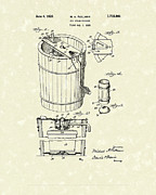 Patent Drawings Prints - Freezer 1929 Patent Art Print by Prior Art Design