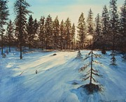 Snowfall Paintings - Freezing Forest by Martin Howard