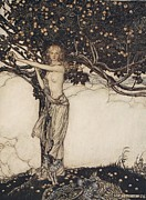 Orange Drawings Prints - Freia the fair one illustration from The Rhinegold and the Valkyrie Print by Arthur Rackham