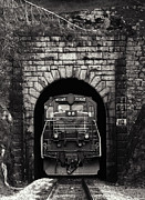 Tunnels Posters - Freight Train Coming Through Poster by Daniel Hagerman