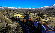 Train Tracks Framed Prints - Freight Train In The Mountains Framed Print by Robert Bales