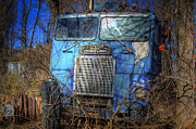 Tractor Trailer Digital Art Prints - Freightliner Blue Print by Daniel  Gundlach