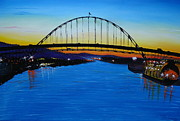City Of Bridges Painting Posters - Fremont Bridge At Sunset Poster by James Dunbar