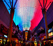Fremont Street Framed Prints - Fremont Street Flyover Framed Print by David Lee Thompson