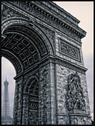 Champs Elysees Framed Prints - French - Arc de Triomphe and Eiffel Tower II Framed Print by Lee Dos Santos