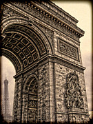 Elysees Posters - French - Arc de Triomphe and Eiffel Tower III Poster by Lee Dos Santos